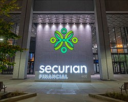 Securian 400 tower, family circle lit up at night
