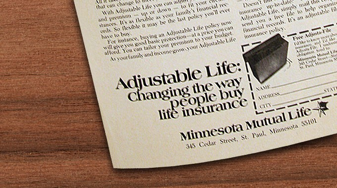 Corner of Adjustable Life ad